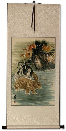 Rabbits<br>Chinese Wall Scroll