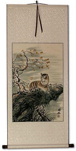 Cuddly Cat - Asian Wall Scroll