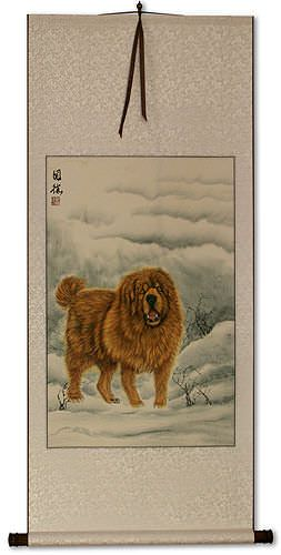 Furry Asian Dog Wall Scroll
