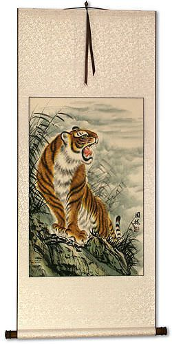 Roaring Chinese Tiger Wall Scroll