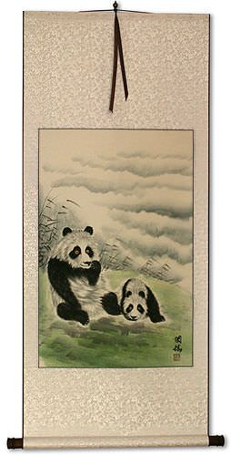 Asian Pandas at Play Wall Scroll