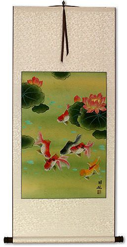 Gold Fish & Flowers<br>Asian Wall Scroll