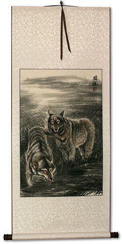 Artisan Lone Wolf Chinese Japanese Kanji Handmade Wall Scrolls