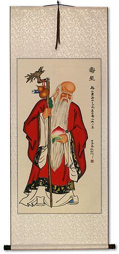 God of Longevity Holding Peach<br>Asian Wall Scroll