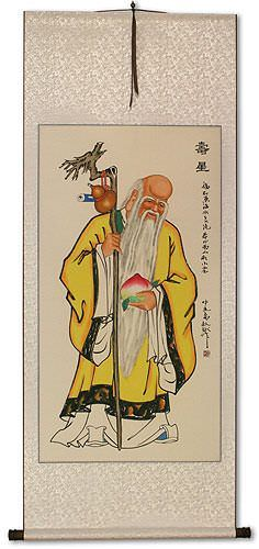 The Saint of Longevity Holding Peach<br>Asian Wall Scroll