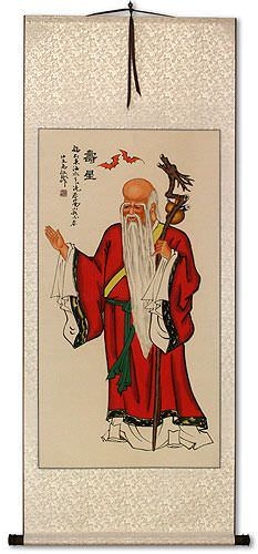 God of Longevity<br>Asian Wall Scroll