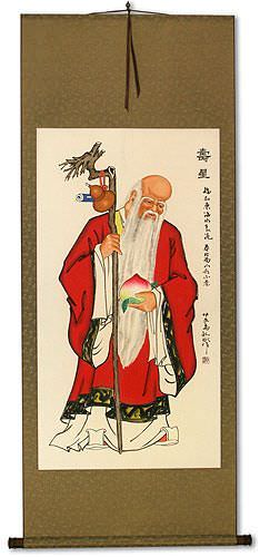Longevity Saint Holding Peach<br>Asian Wall Scroll