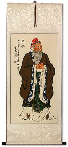 Confucius<br>Great Teacher<br>Wall Scroll