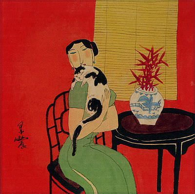 Asian Woman and Cat - Oriental Modern Art Painting