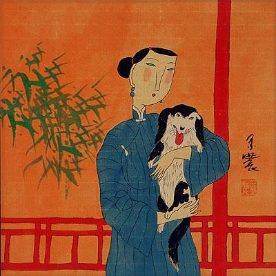 "See how ""Chinese Woman and Dog - Modern Art Painting"" would look after being professionally framed"