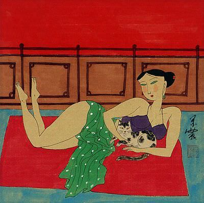 Asian Woman and Cat - Modern Asian Art Painting