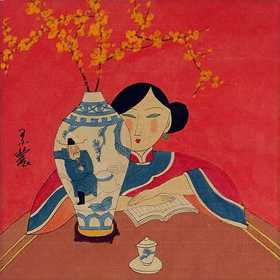 "See how ""Asian Woman and Flower Vase - Modern Art Painting"" would look after being professionally framed"