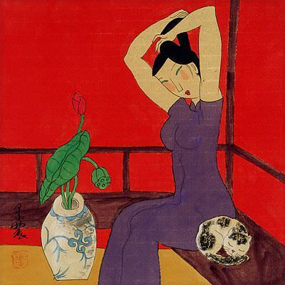 Asian Woman with Cat - Modern Art Painting