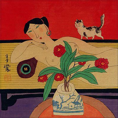 "See how ""Nude Asian Woman on Bed with Cat - Modern Art Painting"" would look after being professionally framed"