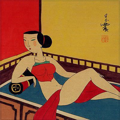Sexy Chinese Woman Laying on Bed - Modern Art Painting