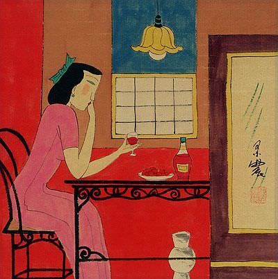 Asian Woman Drinking<br>Modern Asian Art Painting