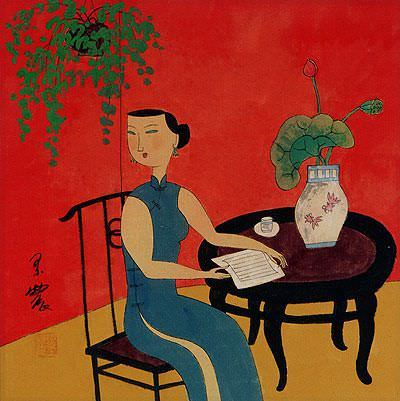 Asian Woman Reading Poetry and Relaxing - Modern Art Painting