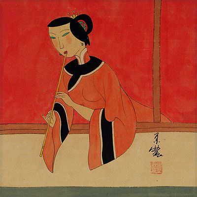 Woman Playing Flute<br>Modern Art Painting