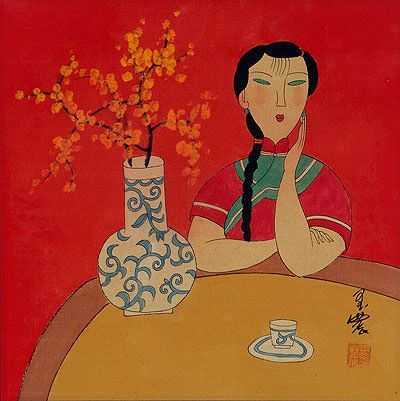 Woman and Flower Vase - Asian Modern Art Painting