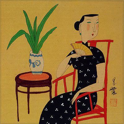 Lady in Waiting<br>Chinese Modern Art Painting