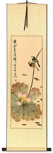 Lotus Beauty in Misty Morning Pond<br>Wall Scroll