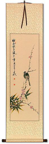 Plum Blossom Joy in Snow<br>Wall Scroll