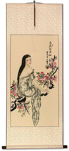 Beauty Under the Flowers Like Poetry<br>Chinese Wall Scroll