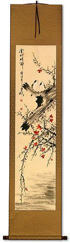 The Golden Autumn<br>Bird and Flower Asian Wall Scroll