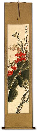 Golden Autumn Rhythm<br>Bird and Flower Wall Scroll