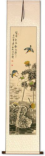 Kingfisher Birds in Lotus Pond<br>Wall Scroll