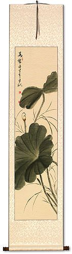 Fragrance of Lotus<br>Bird and Flower Wall Scroll