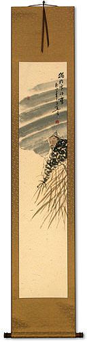 Solitary Old Man Fishing in Snowy River<br>Ancient Style Wall Scroll