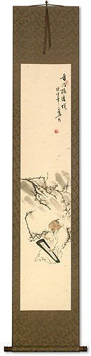 Old Man Playing the Guqin Among Plum Blossoms<br>Wall Scroll