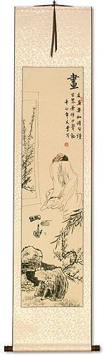 Man Enjoying a Painting<br>Wall Scroll