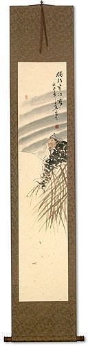 Lonely Old Man Fishing in Snowy River - Ancient Style Wall Scroll