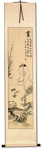 Man Enjoying Art and Music - Wall Scroll