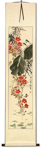 Birds, Butterfly, Morning Glory Flowers, Bamboo<br>Asian Wall Scroll