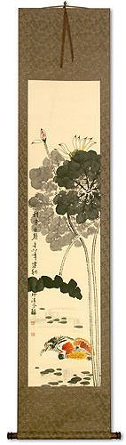 Mandarin Ducks & Lotus Flowers<br>Together Forever<br>Asian Wall Scroll