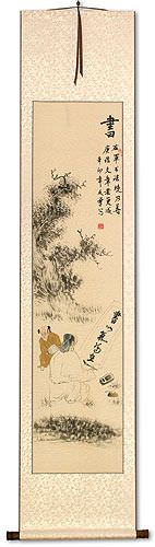 Noble Man Writing Calligraphy - Wall Scroll