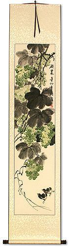 Great Harvest<br>Birds and Grapes<br>Asian Wall Scroll