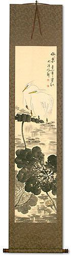 Melancholy<br>Egret Birds and Flower Wall Scroll