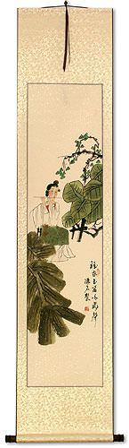 Beautiful Asian Woman Playing Flute Wall Scroll