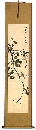 Autumn Birds and Persimmons - Wall Scroll