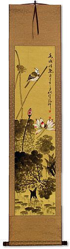 Bird in Perched over Lotus Pond<br>Asian Wall Scroll