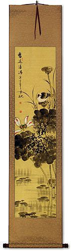Fresh Fragrance<br>Birds and Lotus Wall Scroll