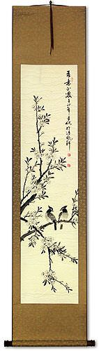 Birds in Perched on Loquat Tree<br>Asian Wall Scroll