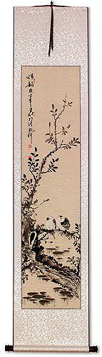 Beautiful Feeling / Loving Feeling<br>Sparrows Perched on Branch Wall Scroll