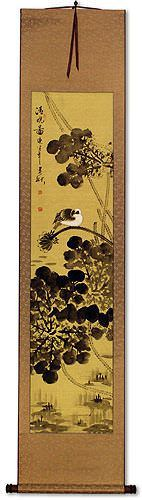 Clear Dawn<br>Bird and Lotus Pond<br>Asian Wall Scroll