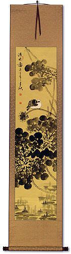 Bird and Lotus Flower Pond - Clear Dawn - Chinese Wall Scroll