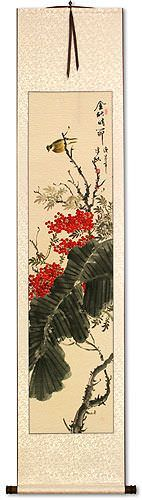 Golden Autumn Rhythm<br>Bird and Flower<br>Asian Wall Scroll
